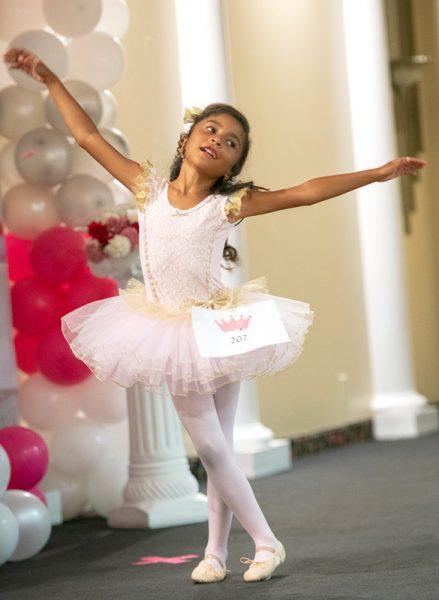 Girl dressed as ballerina.