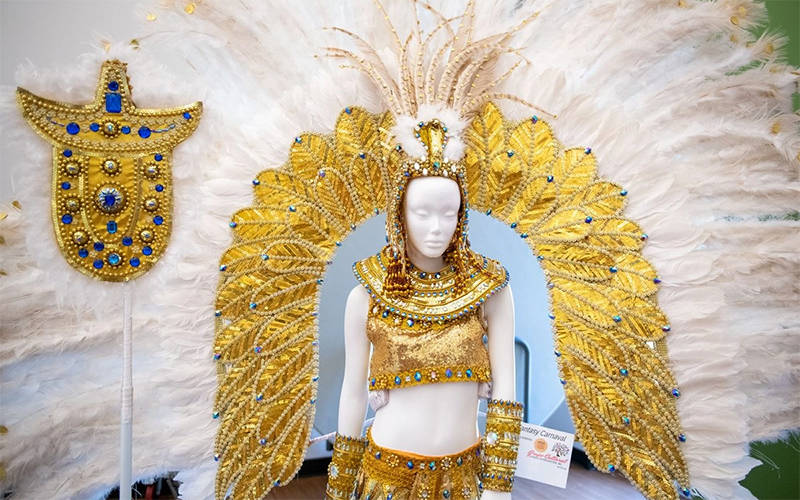 A Latin American Carnaval outfit is displayed June 6 during Grupo Cultural Latinos En Rochester's inaugural Carnaval event at Webster Recreation Center. (EMC photo by Jeff Witherow)