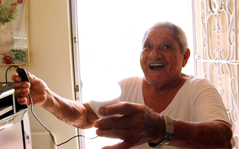 "Javier Camacho, a software and app developer, has been building solar generators from recycled lithium batteries and other materials that he installs in the homes of residents in Puerto Rico, particularly the elderly who have been without power since Hurricane Maria. On June 18, he installed one at the home of 88-year-old ""Don Julio"" who lives in Humacao on the east coast of the island."