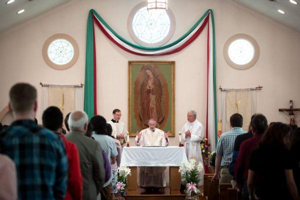 Bishop celebrates Mass.