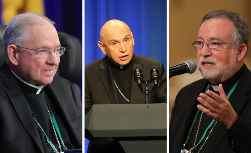 Archbishop Jose H. Gomez of Los Angeles, president of the U.S. Conference of Catholic Bishops, Washington Auxiliary Bishop Mario E. Dorsonville, chairman of the USCCB Committee on Migration, and Bishop Jaime Soto of Sacramento, Calif., chairman of the board of directors of the Catholic Legal Immigration Network Inc., are seen in this composite photo.