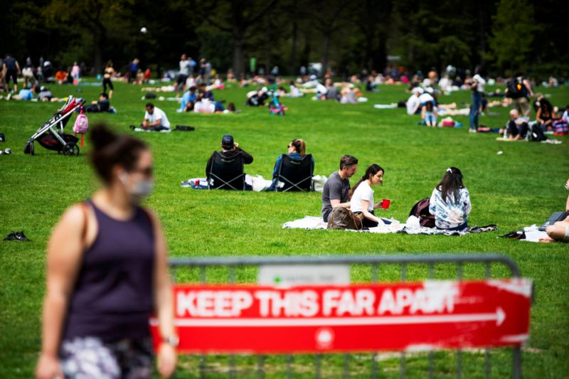 People are seen at Central Park in New York City May 2, 2020, during the the coronavirus pandemic.
