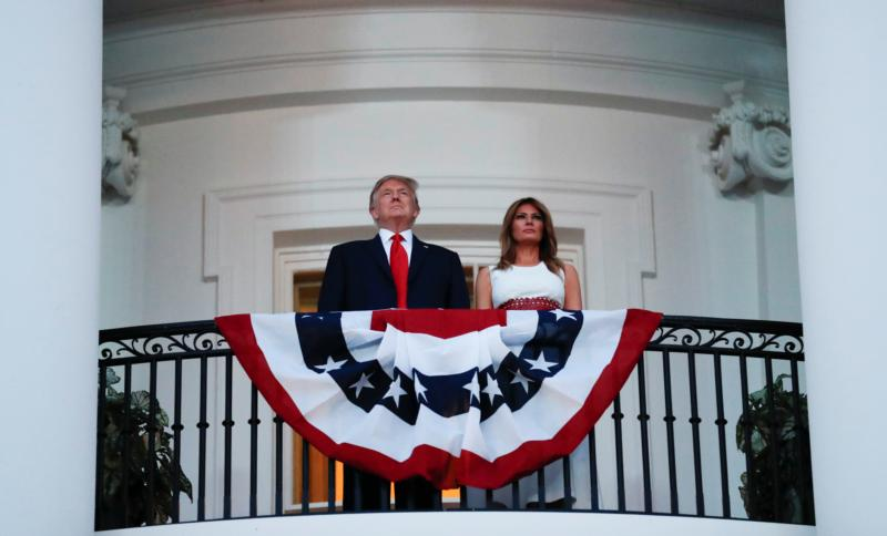 President Donald Trump and first lady Melania Trump are seen at the White House in Washington July 4, 2020.