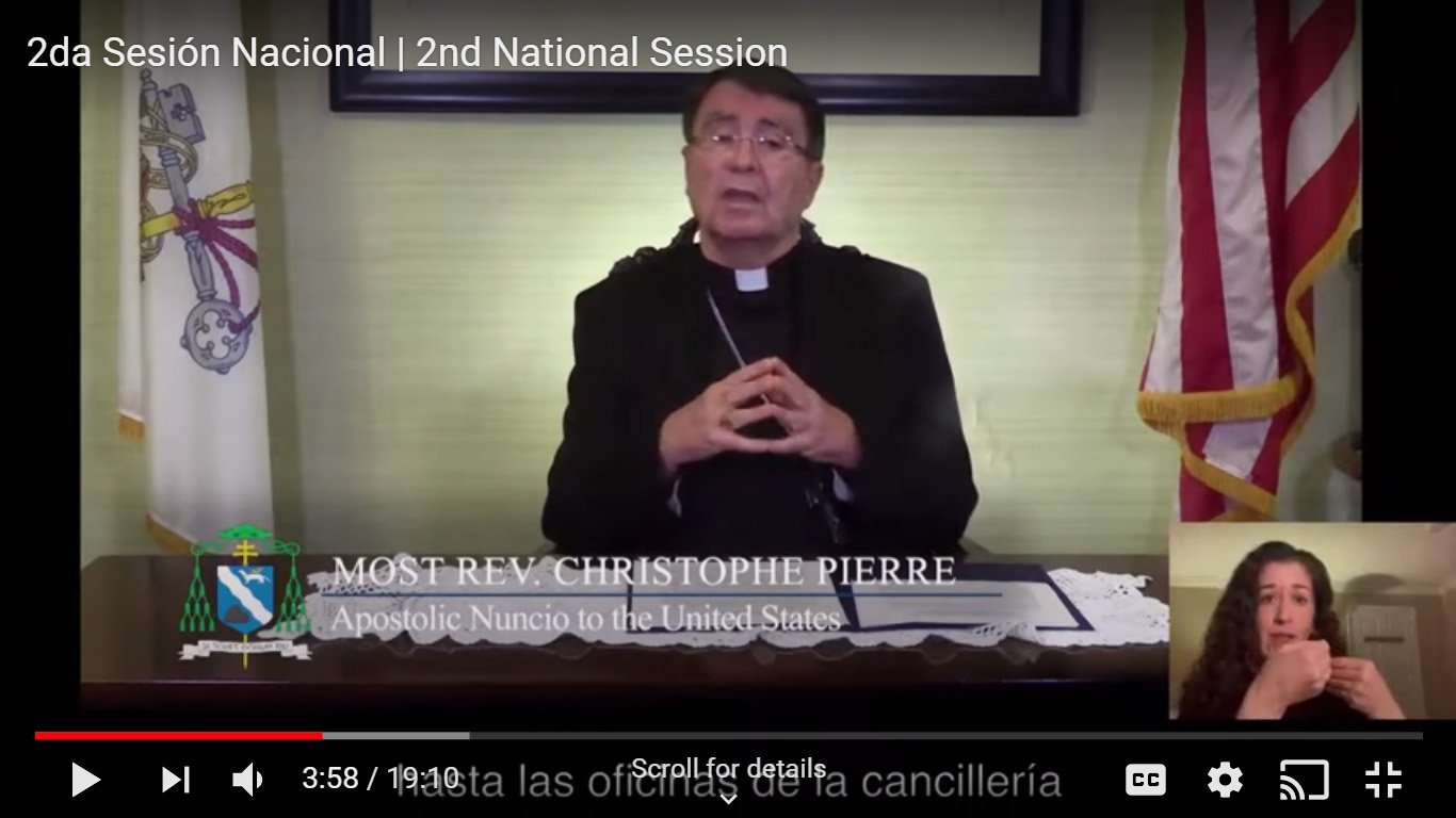 Archbishop Christophe Pierre, apostolic nuncio to the United States, is seen in this screen shot during the Oct. 9-10, 2020, V Encuentro Diocesan Virtual In-Service gathering.