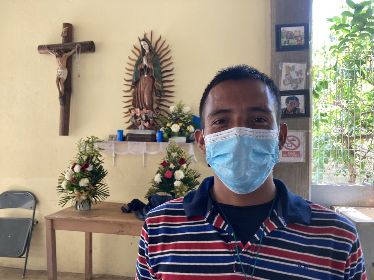 Honduran migrant Ángel David, 25, poses for a photo March 27, 2021, at the diocesan shelter in Palenque, Mexico. He wants to reach the United States in order to work and build a home for his family back in Honduras.