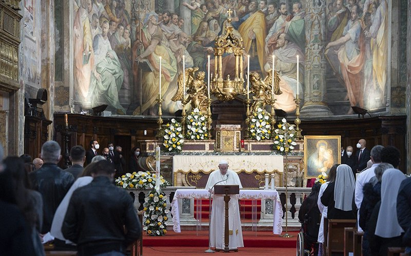 Pope Francis celebrates Mass for Divine Mercy Sunday at the Church of the Holy Spirit near the Vatican in Rome April 11, 2021.