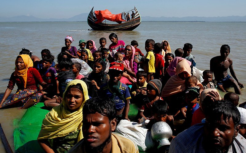 Rohingya refugees in Bangladesh are seen in this 2017 file photo.