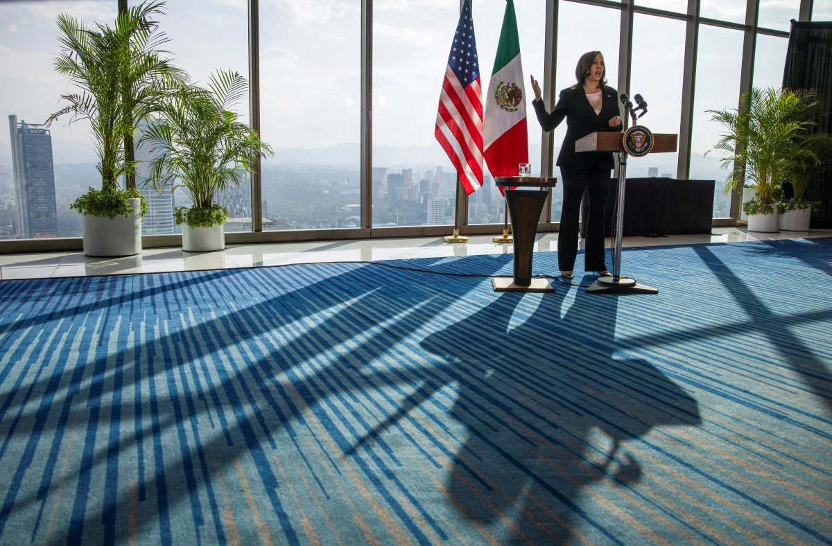 U.S. Vice President Kamala Harris delivers remarks during a news conference at the Sofitel Mexico City Reforma hotel in Mexico City June 8, 2021.