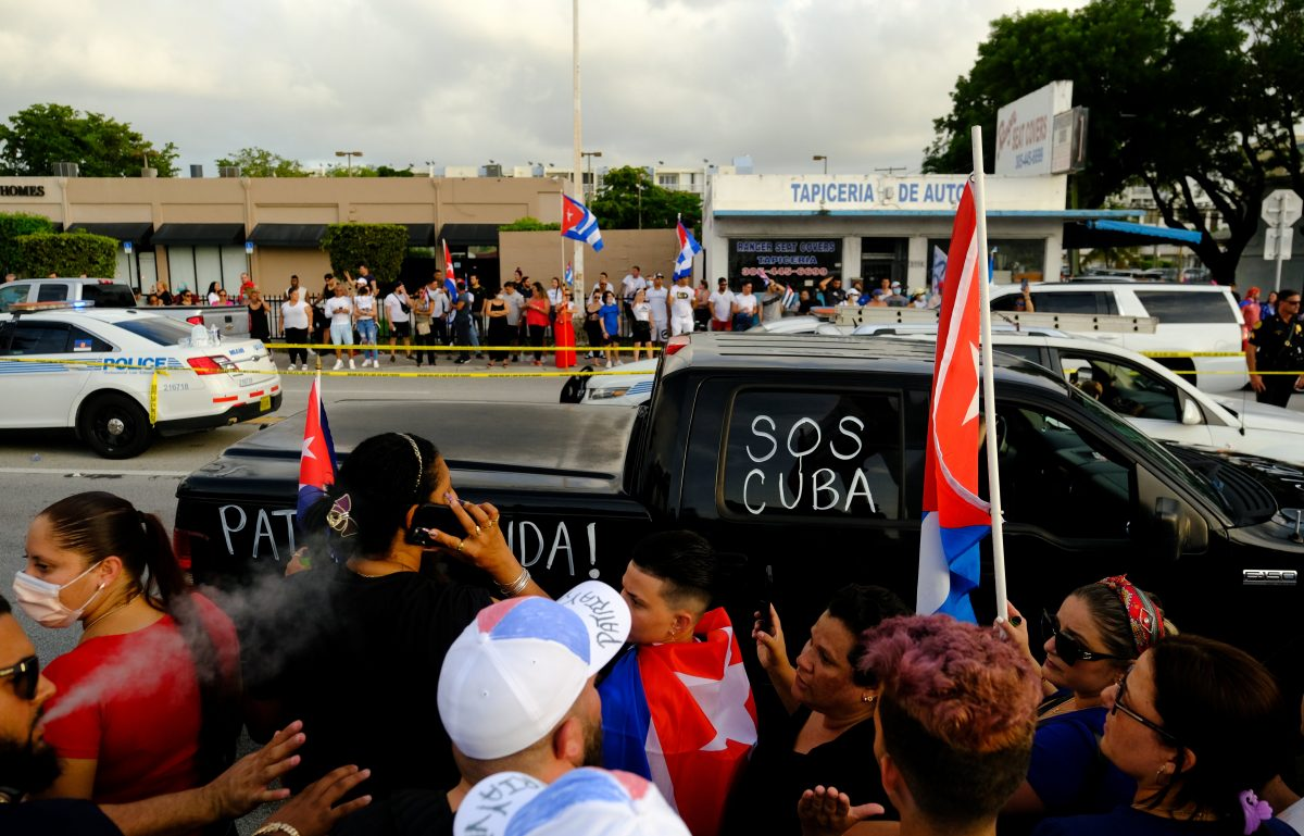 People in the Little Havana neighborhood of Miami rally in solidarity with protesters in Cuba July 12, 2021. (CNS photo by Maria Alejandra Cardona/Reuters)