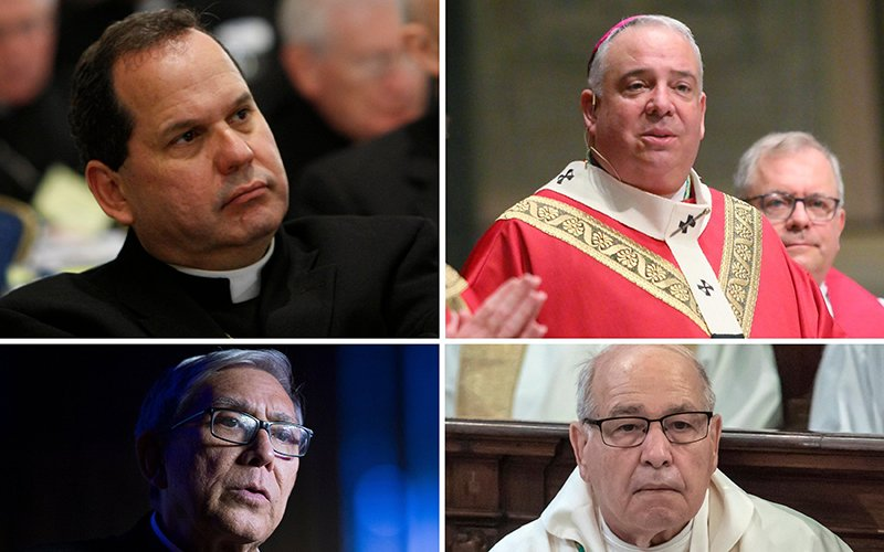 Pictured in this composite are, clockwise from top left, Auxiliary Bishop Manuel A. Cruz of Newark, N.J.; Philadelphia Archbishop Nelson J. Pérez; Bishop Felipe J. Estevez of St. Augustine, Fla.; and retired Auxiliary Bishop Octavio Cisneros of Brooklyn, N.Y. They released a joint statement July 13, 2021, calling on the international community to provide humanitarian aid to the people of Cuba and expressed solidarity with them amid ongoing political protest. (CNS composite/photos by Nancy Wiechec; Sarah Webb, CatholicPhilly.com; Stefano Dal Pozzolo, and Tyler Orsburn)