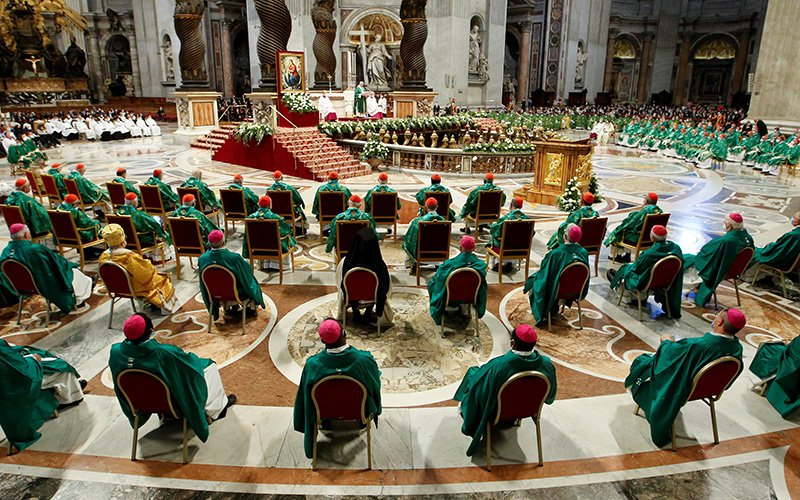 Pope Francis gives the homily as he celebrates a Mass to open the process that will lead up to the assembly of the world Synod of Bishops in 2023, in St. Peter's Basilica at the Vatican Oct. 10, 2021.