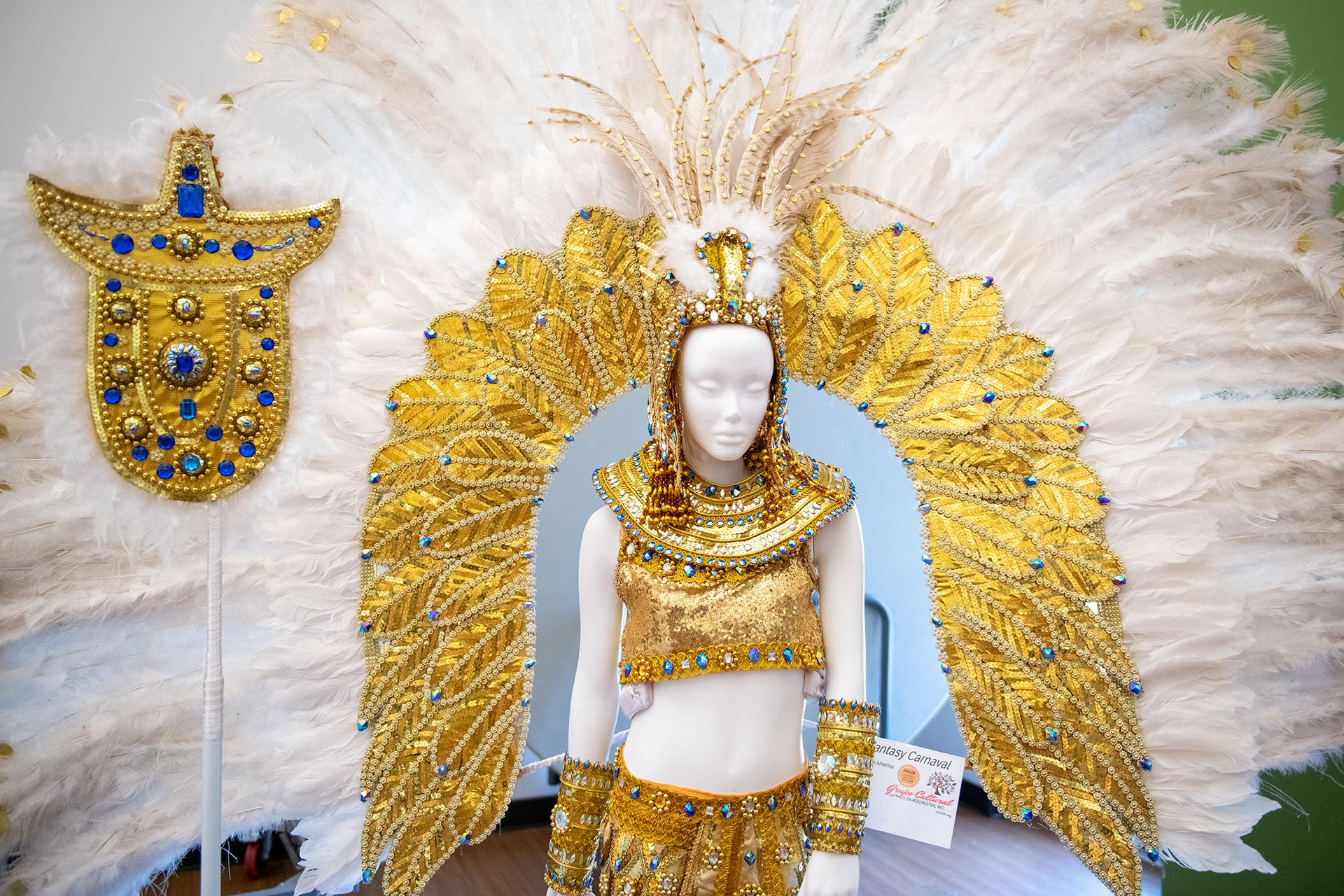 A Latin American carnival outfit is displayed.