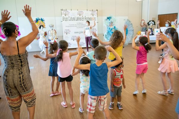 Children dance during a lesson.