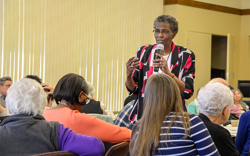 "Sister Patricia Chappell, executive director of Pax Christi USA, speaks during the two-day anti-racism workshop, ""Building the Beloved Community: Racism and Beyond"" at St. Bernard's School of Theology and Ministry."