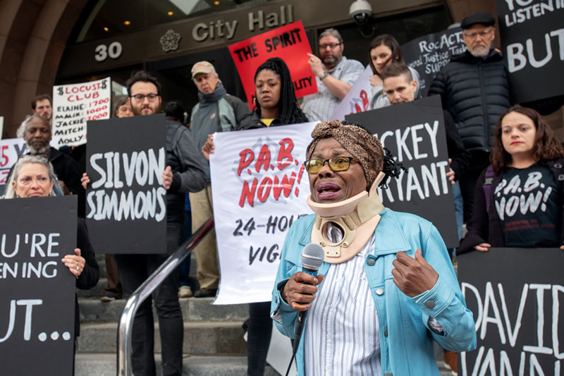 Phyllis Harmon speaks during a press conference and 24-hour vigil supporting an all civilian Police Accountability Board outside of Rochester City Hall May 2.