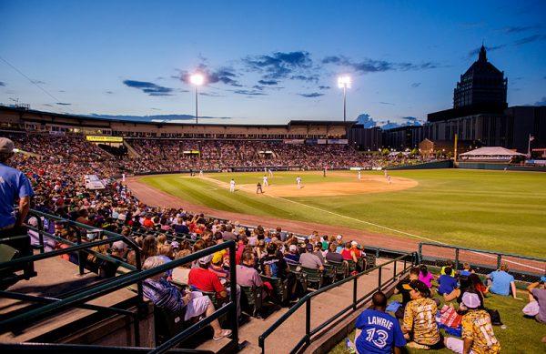 Baseball filed at dusk.