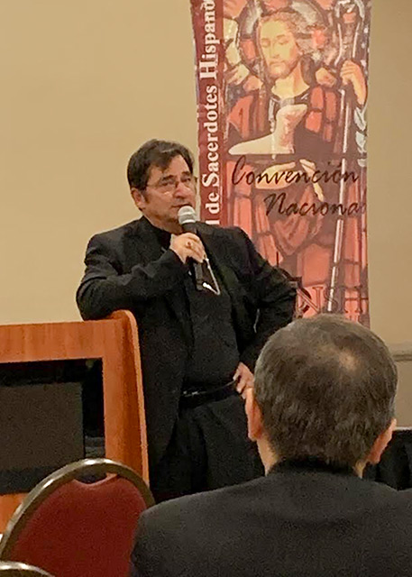 Bishop Joseph J. Tyson of Yakima, Washington, speaks Oct. 7, 2019, about the need to serve the poor during the 30th annual convention of the National Association of Hispanic Priests in New York City. Priests from across the country attended the Oct. 7-10 gathering, discussing topics such as the need of fraternity and care among their peers and also the need to tend to those who are suffering in their home parishes. (CNS photo/Jhon Guarnizo, courtesy Asociacion Nacional De Sacerdotes Hispanos) See LATINO-PRIEST-GATHERING Oct. 29, 2019. Editor's note: Best image available.