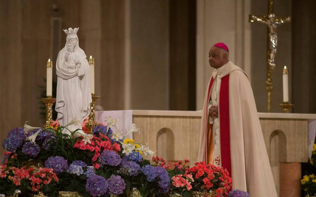 Washington Archbishop Wilton D. Gregory leads a special liturgy in renewing the consecration of the U.S. to the care of our Blessed Mother at the Basilica of the National Shrine of the Immaculate Conception in Washington May 1, 2020, during the coronavirus pandemic. (CNS photo by Tyler Orsburn)