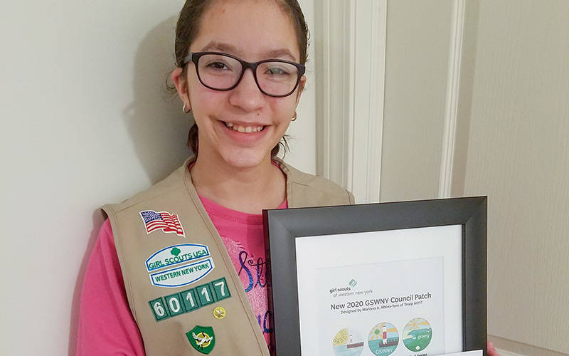 Mariana A. Albino-Toro, a sixth-grader at Sherman Elementary School in Henrietta and a Cadette in Troop 60117, won Girl Scouts of Western New York's 2020 Council Patch design contest. (Photo courtesy of Yesenia Albino)
