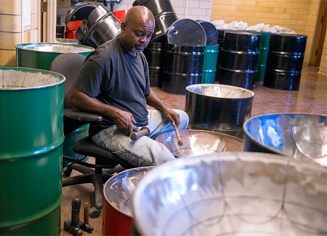 Steel drum team from Antigua is spending two weeks at Monroe High School building drums for school club as part of a cultural exchange. Apparently, they built drums for the school 20 years ago.