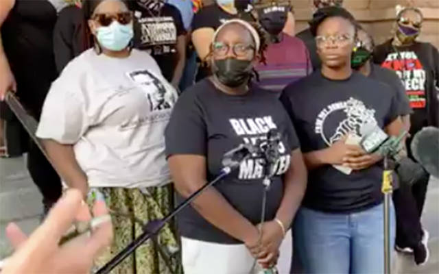 Members of Free The People Roc conduct a press conference outside Rochester City Hall Sept. 6 in regard to the death of Daniel Prude. (EMC screenshot via Free The People Roc Facebook Live)
