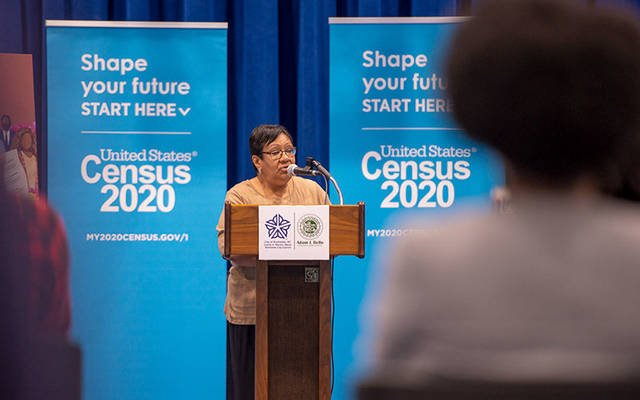 Ida Perez, director of children and family stability services for Ibero-American Action League, speaks during the ROC Rally to Complete Count July 29 at the David F. Gantt Recreation Center in Rochester. The event updated the community on local census efforts and other activities planned to encourage greater participation in the 2020 census. (EMC file photo)