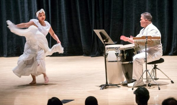 """Yashira Rios and Tony Padilla perform Majestidad de Africa during """"Together We Dance, United We Soar"""" at the Hochstein School of Music & Dance April 29."""