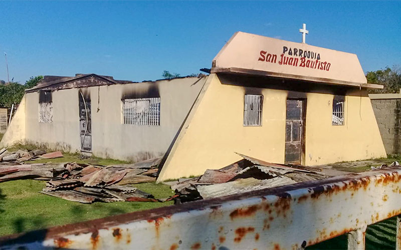 A fire destroyed San Juan Baptista Church in the Dominican Republic town of Don Juan on Jan. 17.