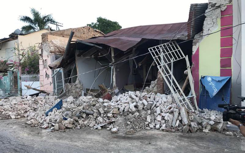 A destroyed home is seen after an earthquake in Guanica, Puerto Rico, Jan. 6, 2020. A larger temblor of magnitude 6.4 rattled Puerto Rico before dawn Jan. 7, killing at least one person and destroying a Catholic church. A series of earthquakes and aftershocks beneath the southern part of the island have been occurring since the night of Dec. 28-29. (CNS photo/Ricardo Ortiz, Reuters) See PUERTO-RICO-EARTHQUAKE Jan. 7, 2020.