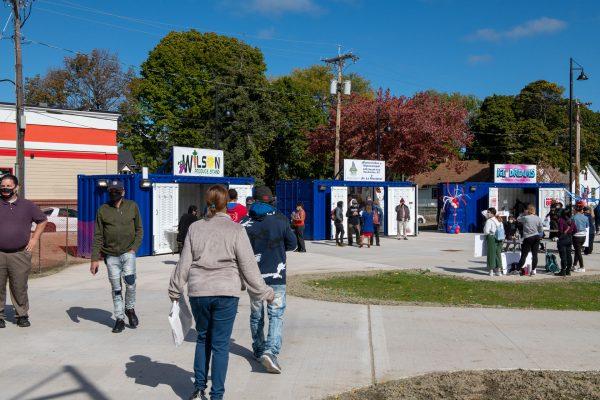 Vendor kiosks are seen at the plaza.