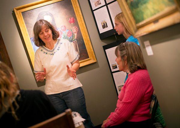 Folklorist Karen Canning speaks to attendees during the celebration.