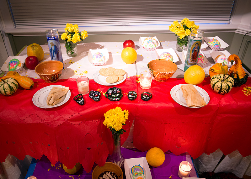 An ofrenda, or altar, was decorated for the celebration.