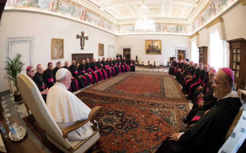 """Pope Francis meets with bishops from the Argentine episcopal conference at the Vatican May 2, 2019. The bishops were making their """"ad limina"""" visits to Rome to report on the status of their dioceses, pray at the tombs of the apostles and meet with Vatican officials. (CNS photo/Vatican Media) See POPE-ARGENTINA-AD-LIMINA May 2, 2019."""