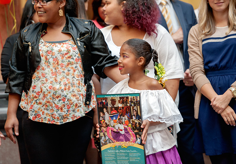 Third-grader Yunaivys Pumarejo (center) appeared on this years official Hispanic Heritage Month poster.