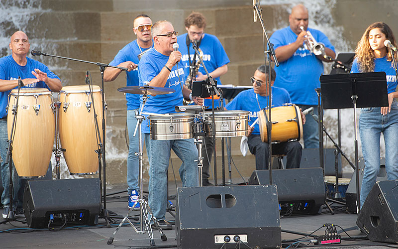 Latin Swing performs Sept. 21 during a Hispanic Heritage Month celebration at Dr. Martin Luther King Jr. Park in Rochester. (EMC photo by John Haeger)