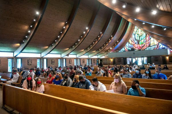 Members of Marion's Our Lady of Guadalupe Mission gather at St. Mary of the Lake Church in Ontario.