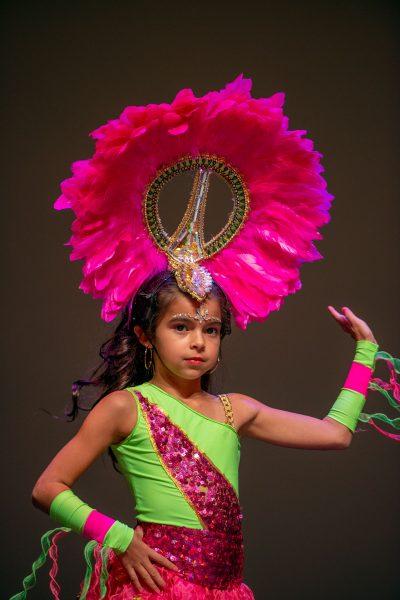 A costumed dancer on stage