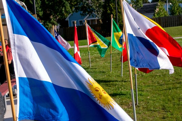 Flags representing Latin American counties encircle the stage area at the International Plaza.