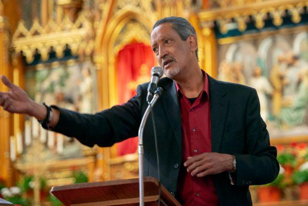 Director speaks after Mass.