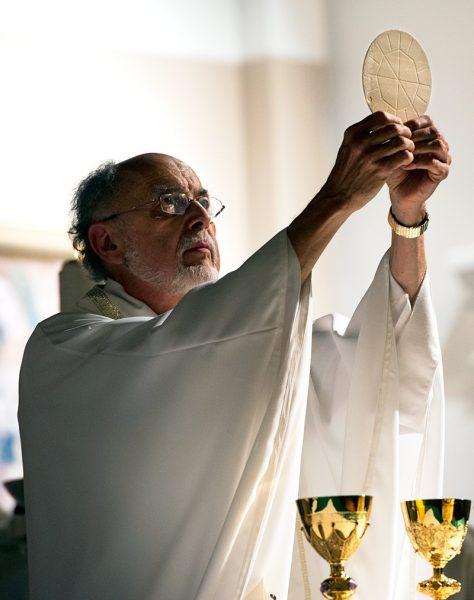 Father Robert Werth elevates the Eucharist during Mass.