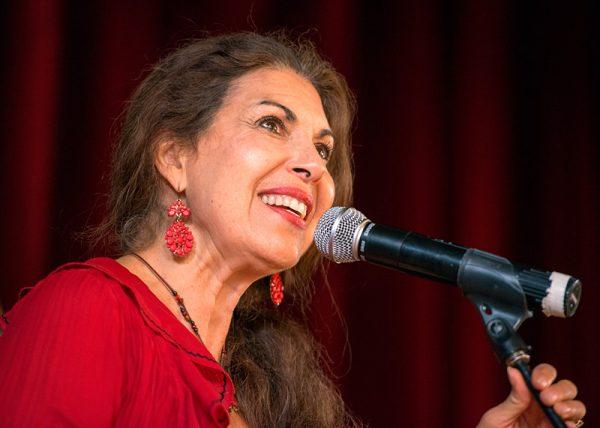 Vocalist Sally Ramírez performs in the ballroom.