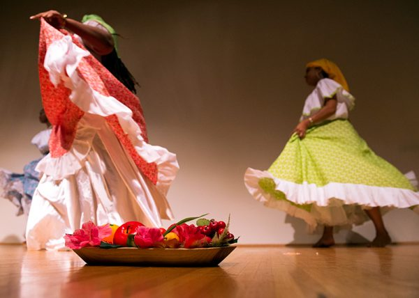 Colombian dancers perform a traditional dance.