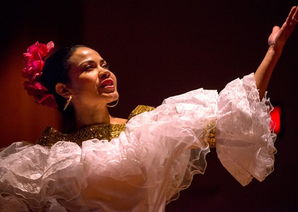 Shirley Bittlingmaier performs a dance during the Colombian presentation.