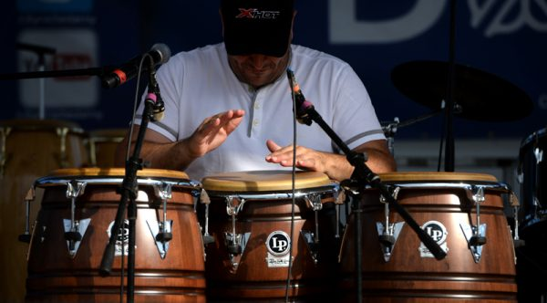 Lucas Santana plays the drums for the Lucas Santana Jazztet during the 47th annual Puerto Rican Festival in Rochester, Friday, August 5.