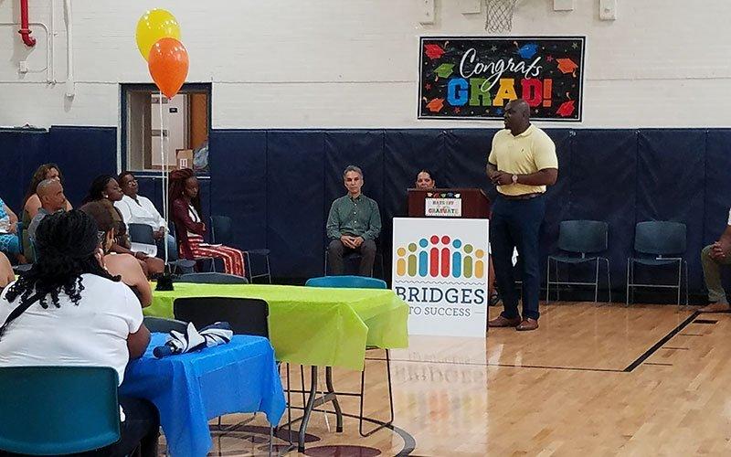 Dr. Leonard Brock speaks during Bridges' second graduation July 19, 2019. (Photo courtesy of Katherine Grant)