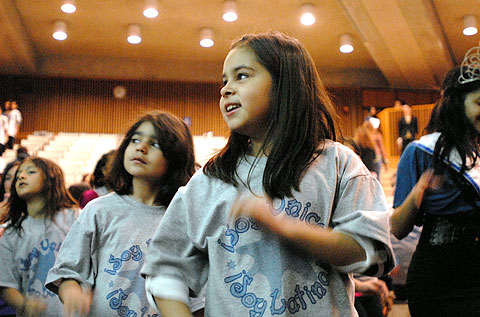 Ten-year-old Ariely Cortes participates in a Zumba demonstration.