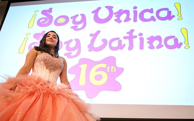 Girl in quinceañera dress