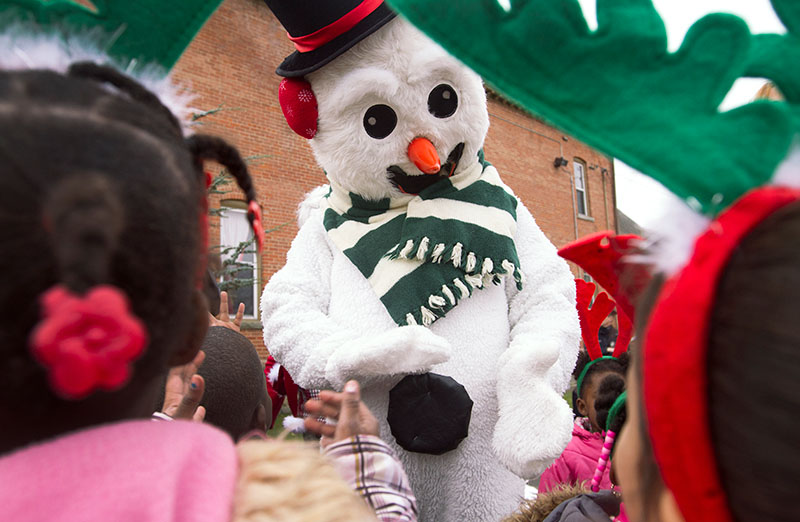Frosty the Snowman greets children from Generations Childcare.