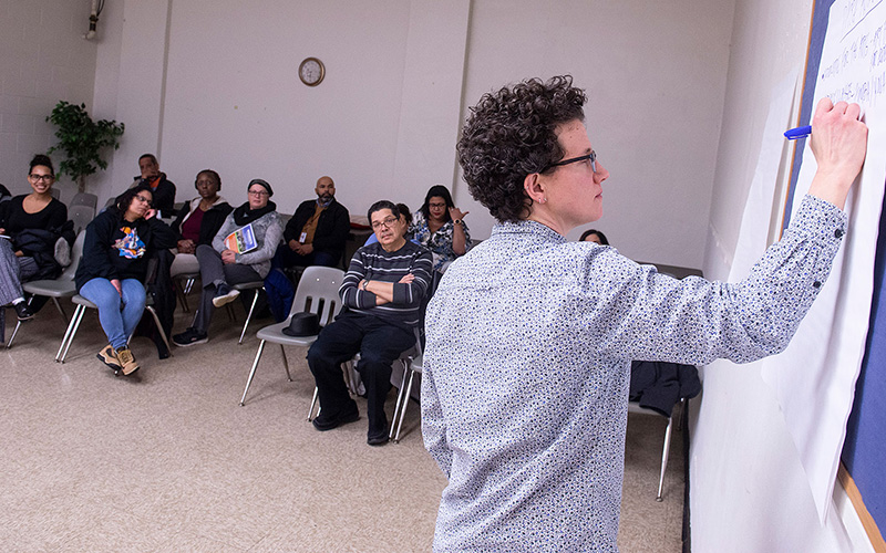 During a Feb. 10 community meeting, Sara Scott, director of recreation and youth services for the City of Rochester, leads a discussion about Don Samuel Torres Park.