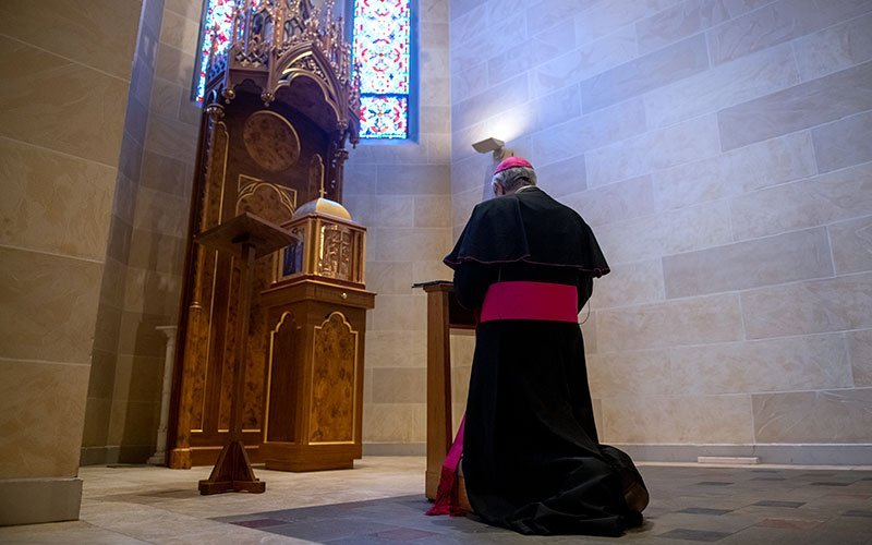 Bishop Salvatore R. Matano leads the Diocese of Rochester in praying the rosary via livestream March 25. (EMC photo by Jeff Witherow)